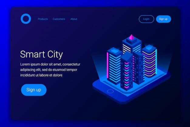 Concepto isométrico de ciudad inteligente. edificios en la pantalla del teléfono inteligente. estilo plano 3d. plantilla de página de destino. ilustración.
