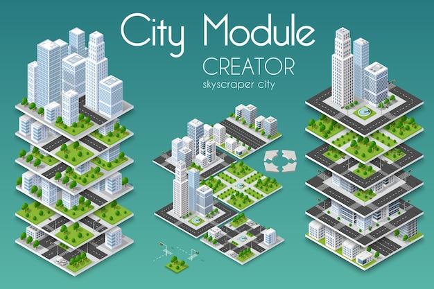 Concepto isométrico de ciudad de negocio de infraestructura urbana.