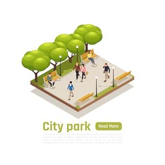 El concepto isométrico de la ciudad con el título del parque de la ciudad lee más el botón y la ilustración de vector de personas caminando