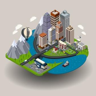 Concepto isométrico de la ciudad