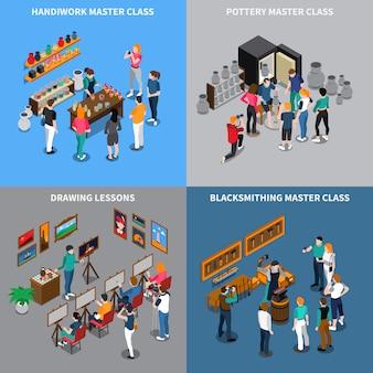 Concepto isométrico de clase magistral