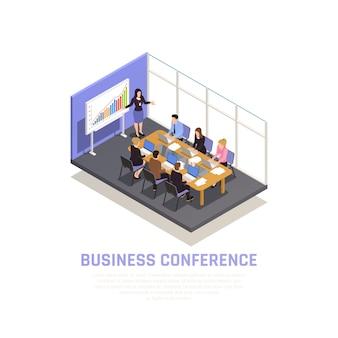 Concepto isométrico de coaching empresarial con símbolos de conferencias de negocios
