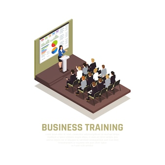 Concepto isométrico de coaching empresarial con símbolos de conferencias y talleres