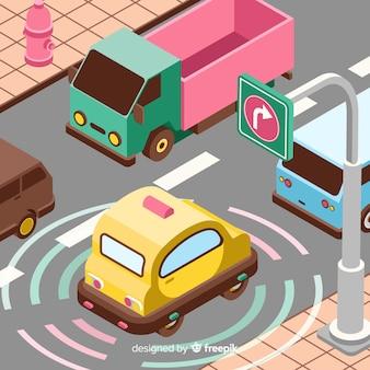 Concepto isométrico de coche autónomo