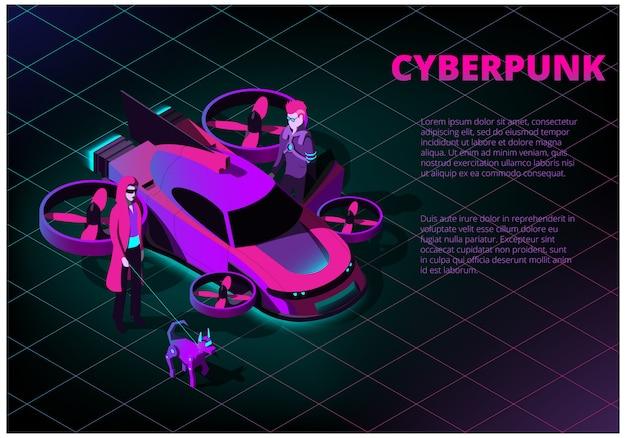 Concepto isométrico con coche volador futurista, hombre, mujer y perro robot sobre el tema del cyberpunk