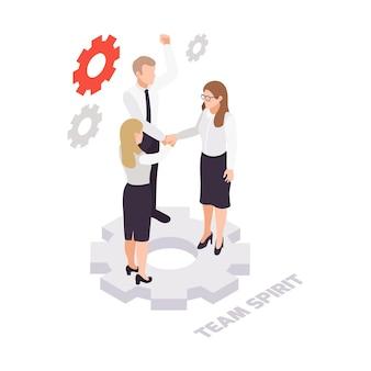Concepto isométrico de colaboración de espíritu de equipo empresarial con tres personajes