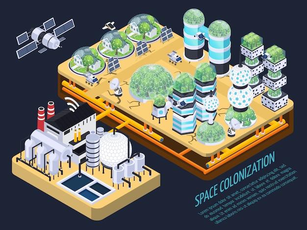 Concepto isométrico de colonización espacial