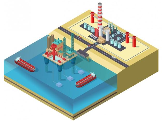Concepto isométrico colorido de la industria del petróleo