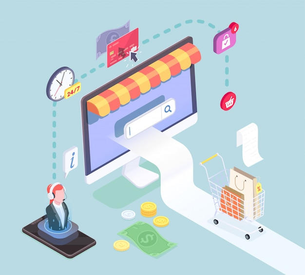 Concepto isométrico de comercio electrónico de compras con imágenes de iconos de pictograma de dispositivos electrónicos inteligentes y símbolos de efectivo ilustración vectorial