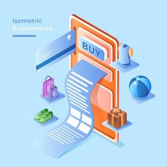Concepto isométrico de comercio electrónico con productos