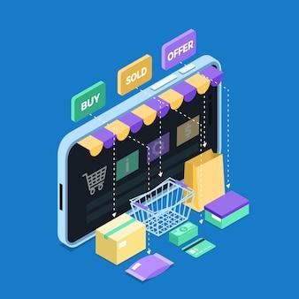 Concepto isométrico de comercio electrónico
