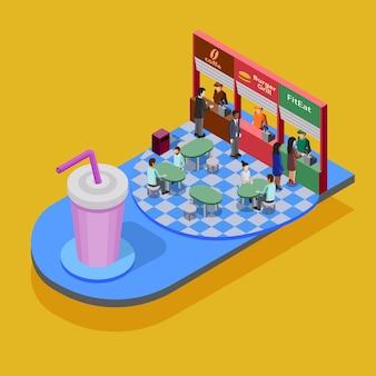 Concepto isométrico de comida rápida