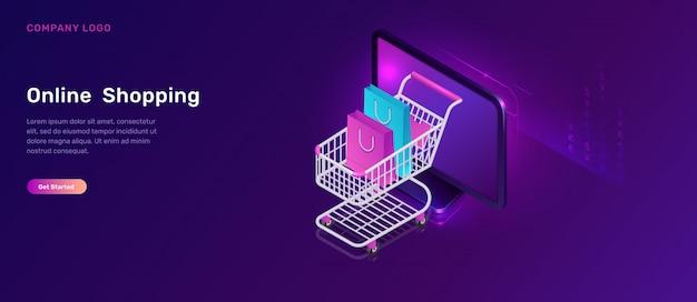 Concepto isométrico de compras en línea, carrito de compras