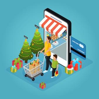 Concepto isométrico de compras en línea de vacaciones de invierno con mujer niño presente cajas árboles de navidad móvil aislado