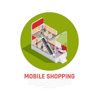 Concepto isométrico de compras móviles con símbolos de compra y pedidos isométricos