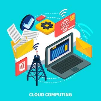 Concepto isométrico de computación en la nube