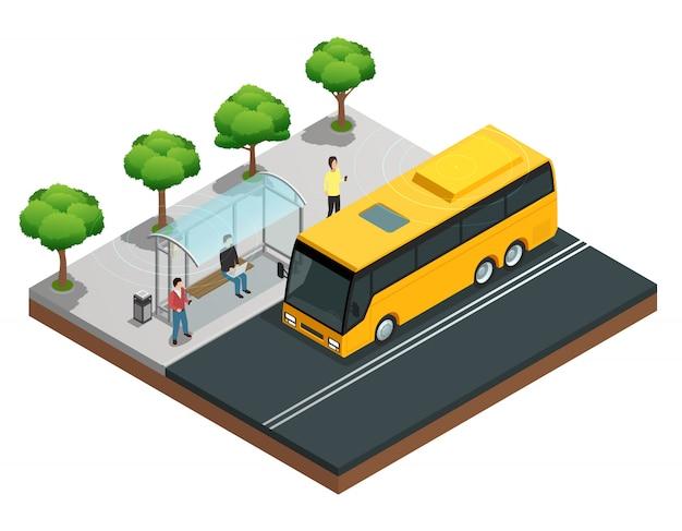 Concepto isométrico de comunicación inalámbrica de la ciudad con personas en una parada de autobús