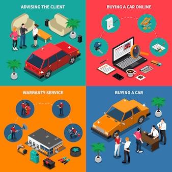 Concepto isométrico de la concesión de coche