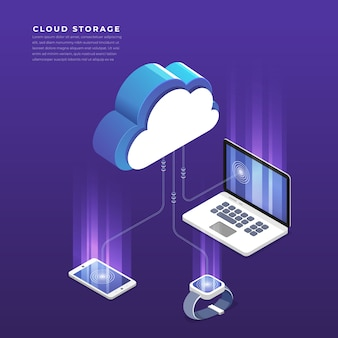Concepto isométrico de configuración de red de usuarios de tecnología de computación en nube. ilustración.