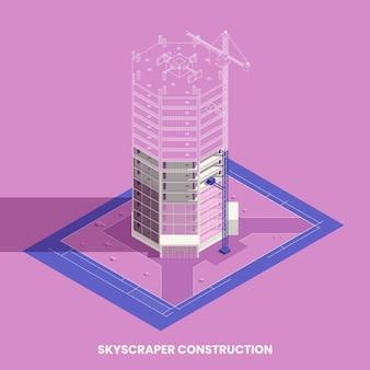 Concepto isométrico de construcción de rascacielos con símbolos de construcción y preparación