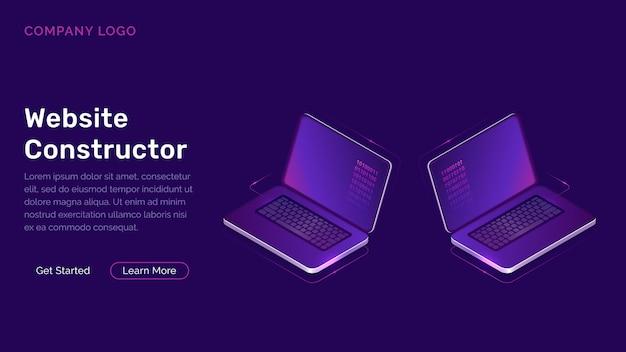 Concepto isométrico de constructor de sitio web
