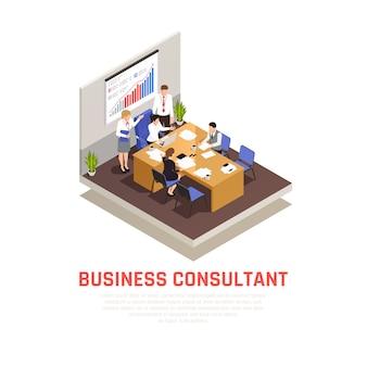 Concepto isométrico de consultor comercial con símbolos de presentación y conferencia