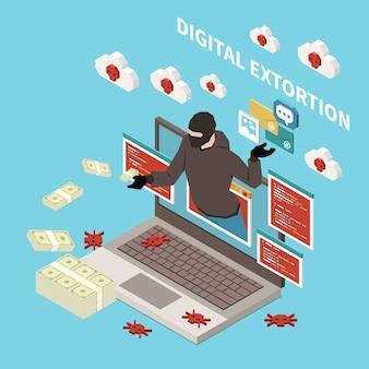 Concepto isométrico del crimen digital de la pesca del pirata informático con la ilustración de la extorsión digital