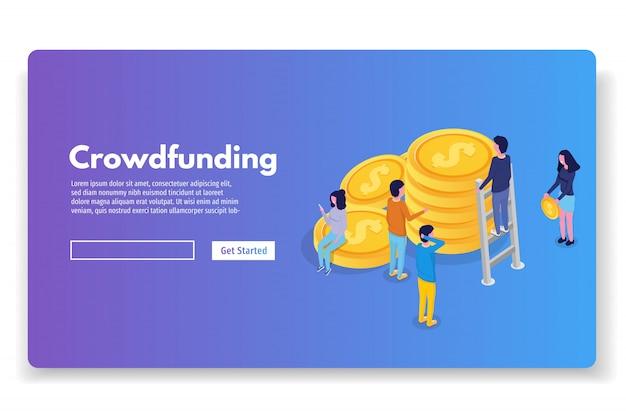 Concepto isométrico de crowdfunding con personas. ilustración vectorial