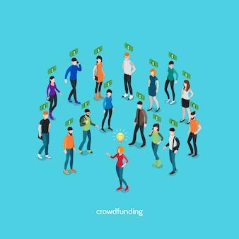Concepto isométrico de crowdfunding