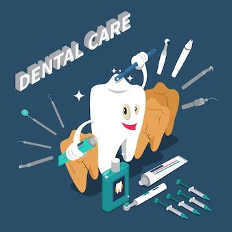 Concepto isométrico del cuidado dental