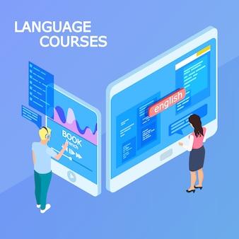 Concepto isométrico de cursos de idiomas en línea