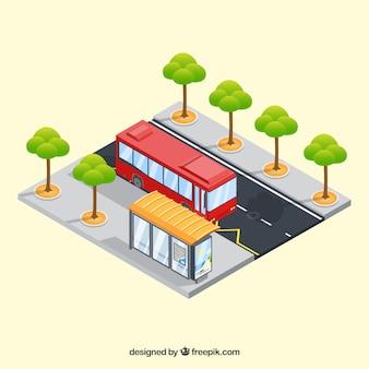 Concepto isométrico de autobús