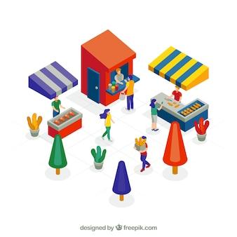 Concepto isométrico de compras con gente