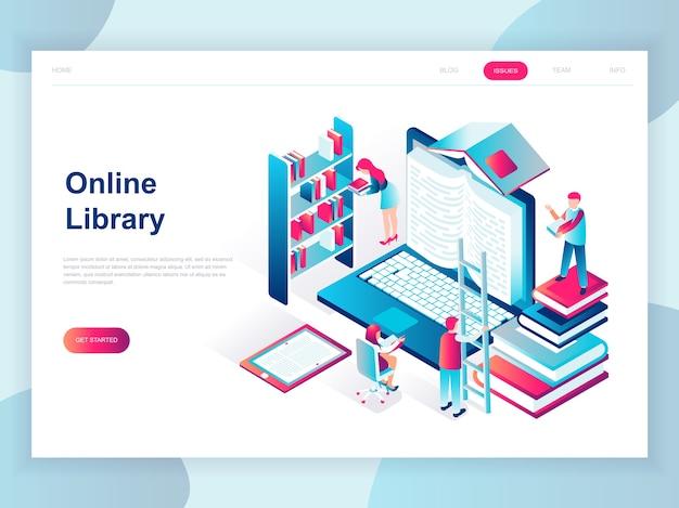 Concepto isométrico de diseño plano moderno de biblioteca en línea