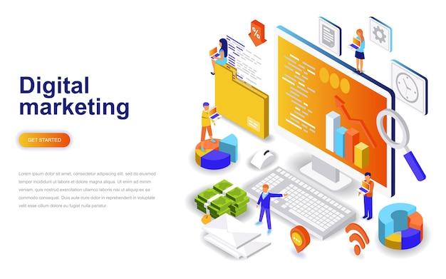 Concepto isométrico de diseño plano moderno de marketing digital.