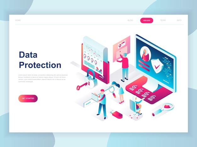 Concepto isométrico de diseño plano moderno de protección de datos
