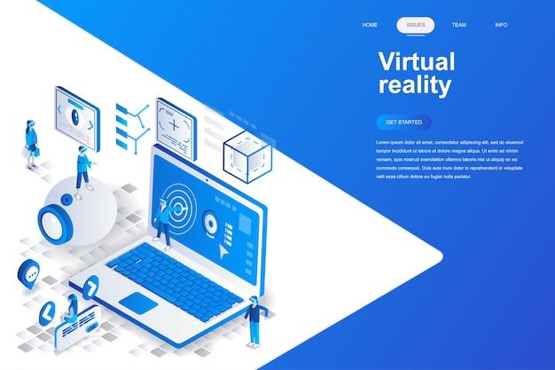 Concepto isométrico de diseño plano moderno de realidad virtual.