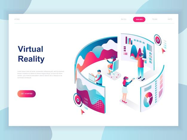 Concepto isométrico de diseño plano moderno de realidad virtual