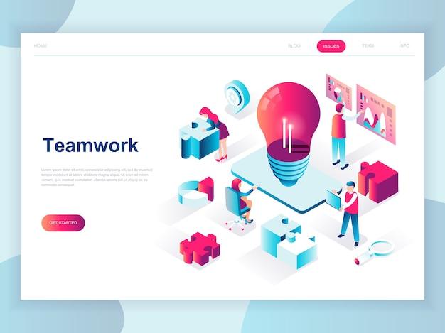 Concepto isométrico de diseño plano moderno de trabajo en equipo