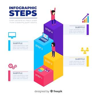 Concepto isométrico de pasos infográficos