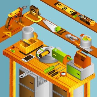 Concepto isométrico de taller