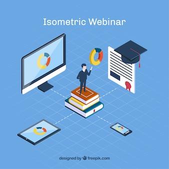Concepto isométrico de webinar