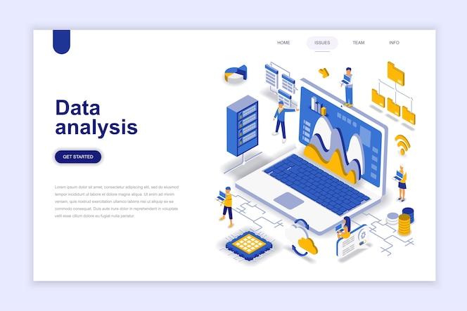 Concepto isométrico del diseño plano moderno del análisis de datos.