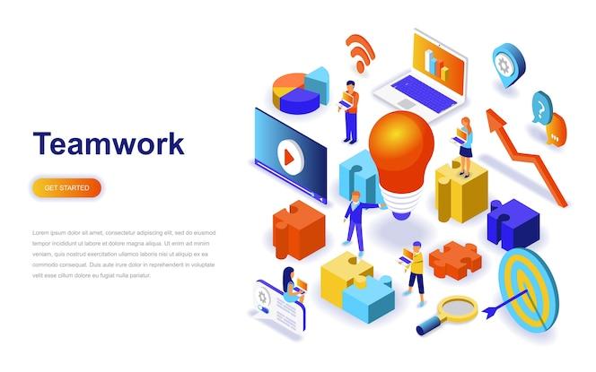 Concepto isométrico del diseño plano moderno del trabajo en equipo.