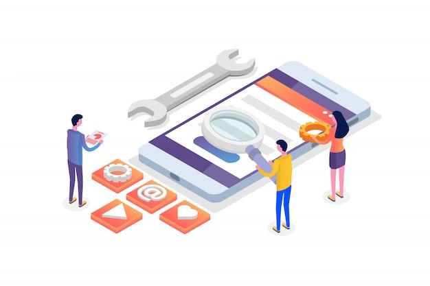 Concepto isométrico de desarrollo de aplicaciones móviles. plantilla de página de destino. ilustración.