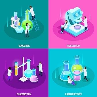 Concepto isométrico de desarrollo de vacunas con equipo de química de investigación de laboratorio y experimentos aislados