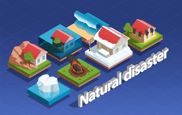 Concepto isométrico de desastres naturales