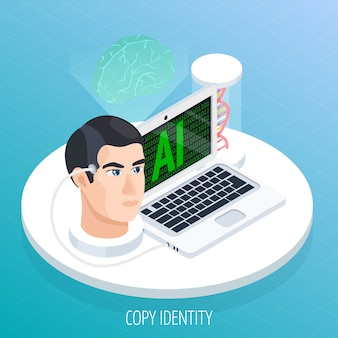 Concepto isométrico de digitalización de braing
