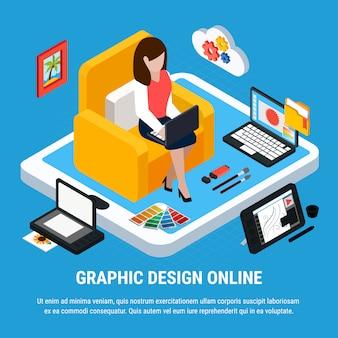 Concepto isométrico de diseño gráfico con mujer trabajando en computadora