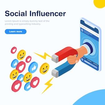 Concepto isométrico de diseño de influencia social.